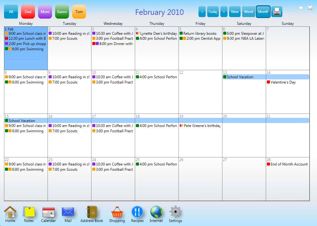 CalendarMonthly